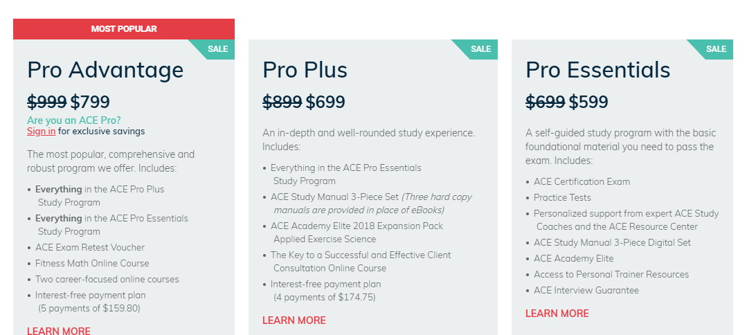 ACE AND NASM PERSONAL TRAINING PRICING COMPARISON