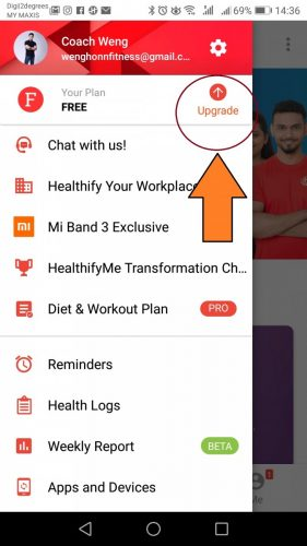 how to select A COACH ON Healthifyme Fitness Coach In Malaysia